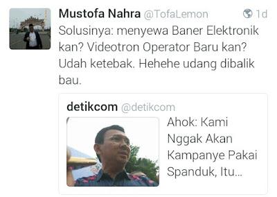 Ahok Ogah Kampanye Pakai Spanduk Karena Kotori Kota, Netizen: Solusinya Sewa Videotron!