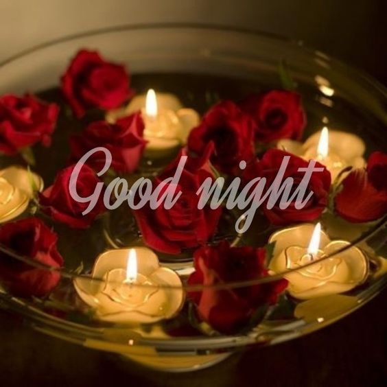 Romantic Good Night Flowers Image