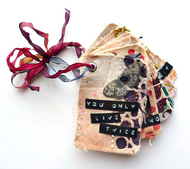 Mixed Media Canvas Mini Album with Packing Tape Image Transfers by Dana Tatar