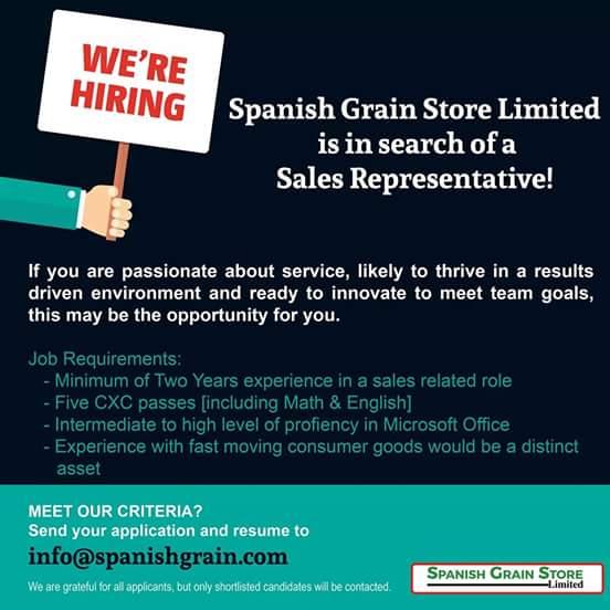 Jobs Postings Caribbean: Sales Representative - Spanish Grain ...