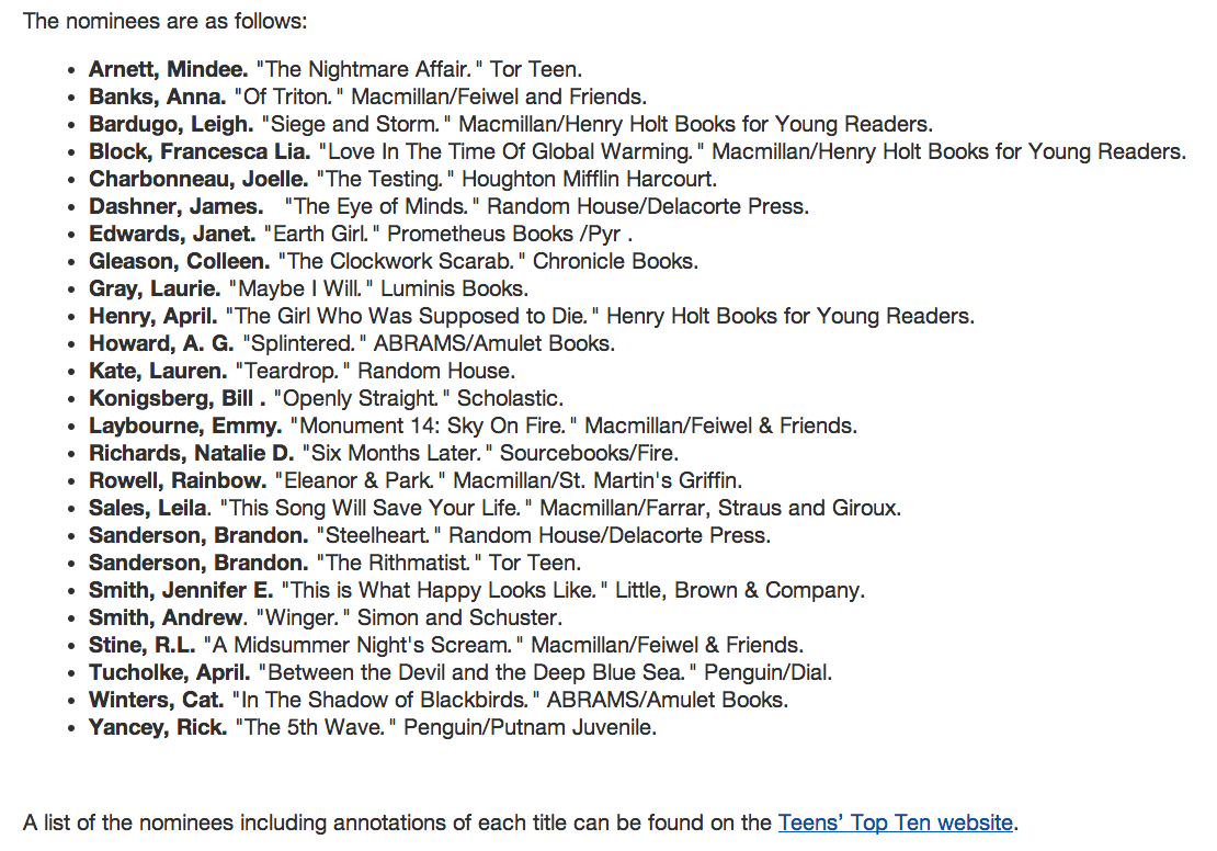 YALSA 2014 nominations for Top Teen Reads