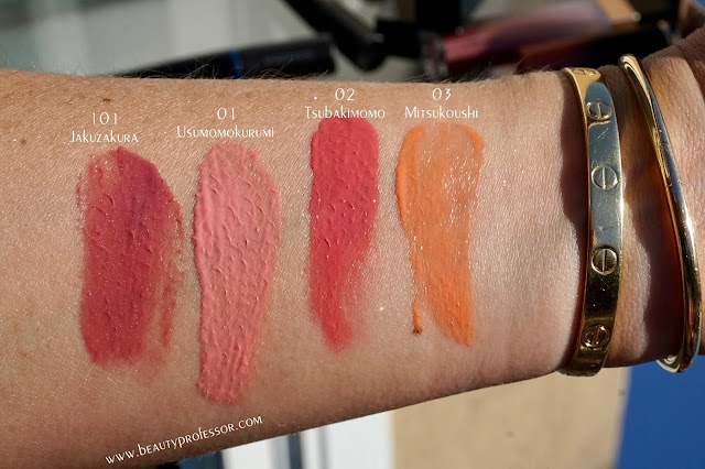 suqqu spring summer 2019 collection swatches liquid shimmer blush