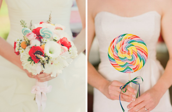 Matrimonio a tema candy, candy wedding, lollipop bridal bouquets