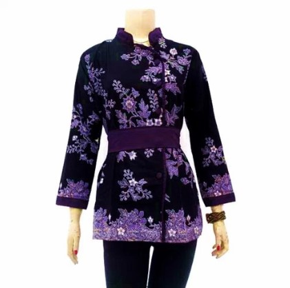 15 Model Baju Batik Lengan Panjang Wanita Modern 2017
