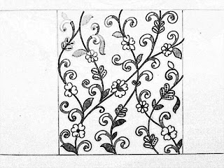 Hand emroidery design patterns pencil sketch on tracing paper