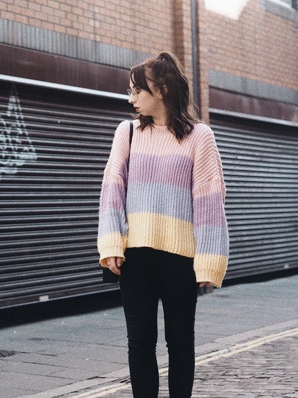 the multi coloured sweater i can't get enough of missguided personal style fashion 2
