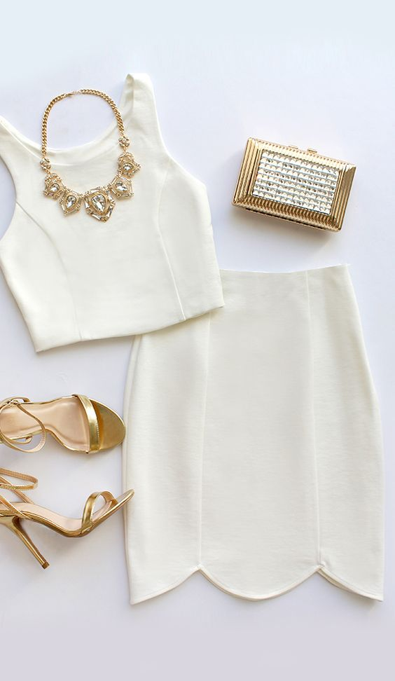 Two Piece White Dress Labele