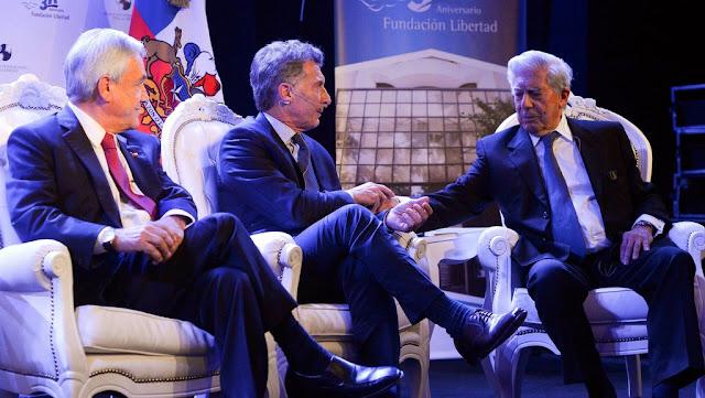 El presidente Mauricio Macri compartió una charla con el presidente Sebastián Piñera y con el premio Nobel de Literatura, Mario Vargas Llosa
