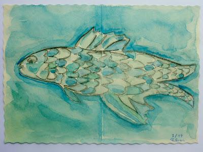 Fischaquarell (mit Schatten)