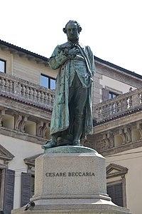 Giuseppe Grandi's statue of Cesare Beccaria in Piazza Beccaria in Milan