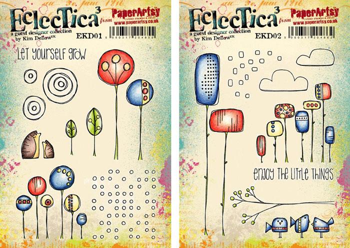 PaperArtsy Eclectica³ {Kim Dellow} Stamps EKD01 and EKD02