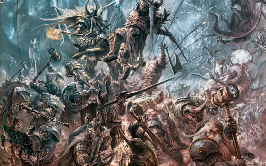 A Warhammer Fantasy Battle Report between Dwarves and Warriors of Chaos.