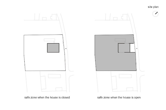 Illustration of safest house closing its walls