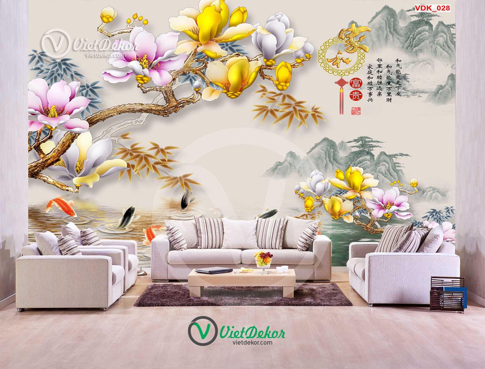 Tranh dán tường 3d hoa phong lan