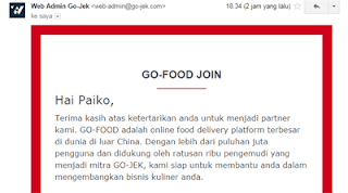 email masuk dari go food