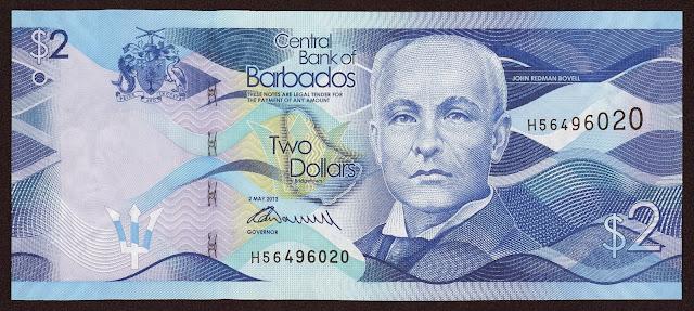 Barbados Banknotes 2 Dollars banknote 2013 John Redman Bovell