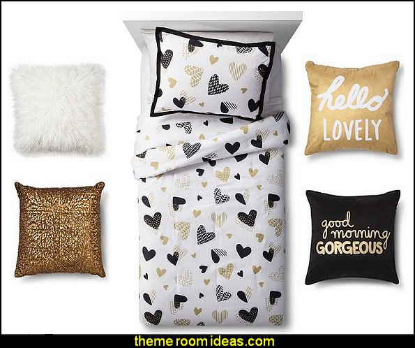 Hello Hearts Comforter Set  throw pillows girls bedding