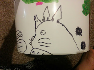 Line Sharpie drawing of Totoro and Soot Sprites from My Neighbour Totoro on Guides Camp Bucket