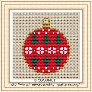 Mini Christmas Ornament 4, Free and easy printable cross stitch pattern