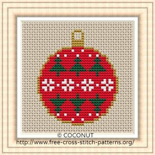 Free Printable Christmas Ornament Cross Stitch Patterns.Mini Christmas Ornament 4 Free And Easy Printable Cross