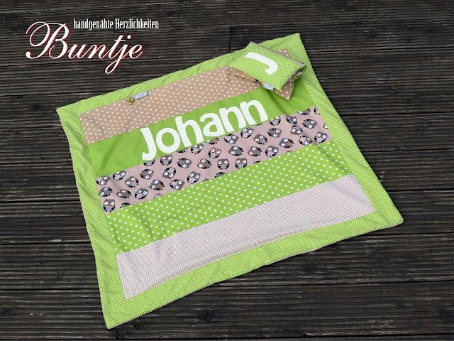 Babydecke Decke Baby Kuscheldecke Geschenk Geburt Taufe Name Junge Johann grün braun beige Eulen nähen handmade Buntje Baumwolle Fleece Wellnessfleece