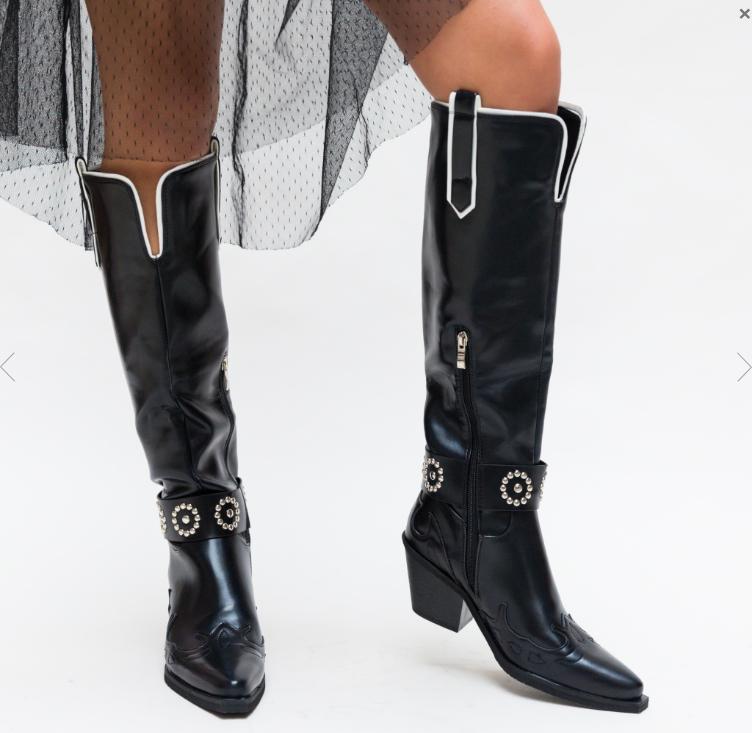 Cizme femei inalte pana la genunchi negre la moda foarte frumoase