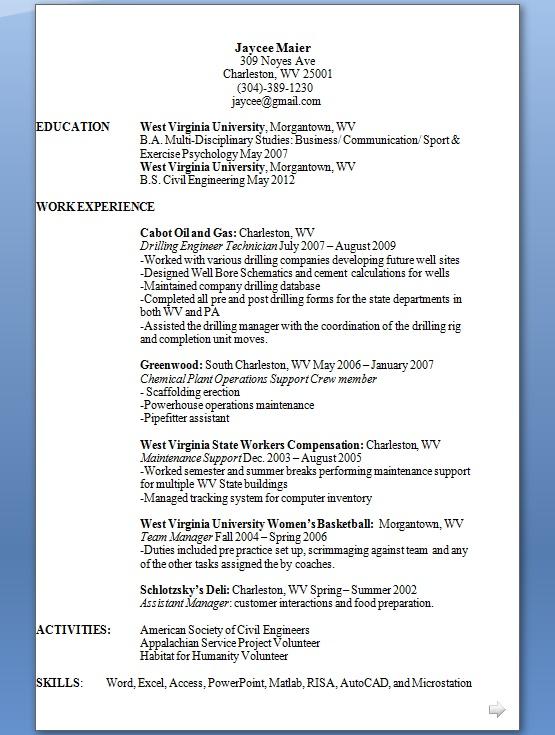 Maintenance Support Sample Resume Format in Word Free Download - civil engineering volunteer sample resume