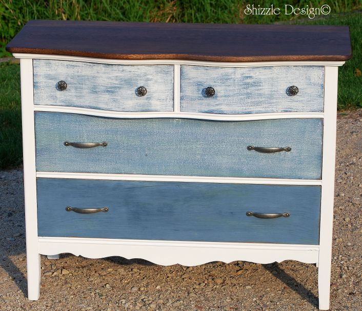 Top Shizzle Design | Antique Dresser Painted with Blue and White Ombre  TG18