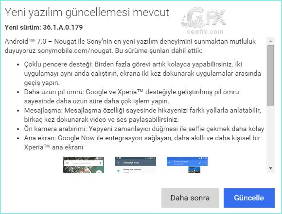 Android 7.0 Nougat yazılım güncellemesi