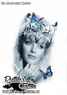 tetoválás minták, tattoo stencil, tigris, nő, fantázia, pillangó, Ruthless tattoo, Nagyváti Dávid, 2018 , Szeged tetoválás, tetoválás tervezés, photoshop