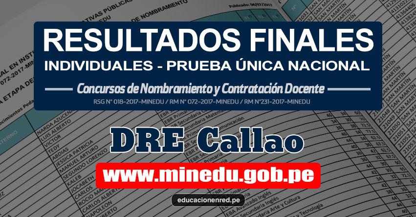 DRE Callao: Resultado Final Individual Prueba Única Nacional y Relación de Postulantes Habilitados para Etapa Descentralizada Nombramiento Docente 2017 - MINEDU - www.drec.gob.pe