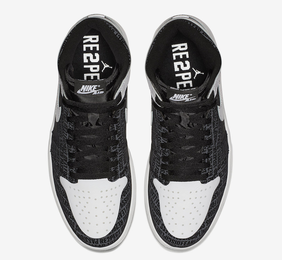 """100% authentic ae392 9aa63 Air Jordan 1 Retro High OG """"RE2PECT"""" Color  Black White Style Code   555088-008. Release Date  November 18, 2017. Re-Release Date  December 13,  2017 (Nike ..."""