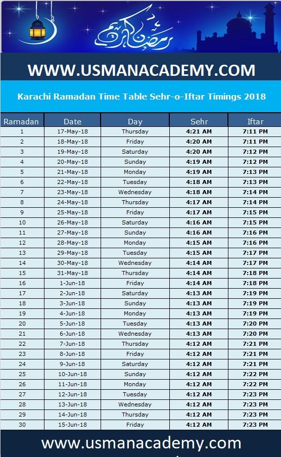 Karachi Ramadan Calendar 2018 timing time table