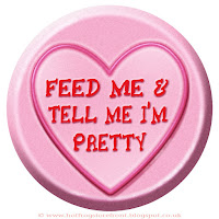 Feed Me Tell Me I'm Pretty text on Love Heart sweet free image for texting