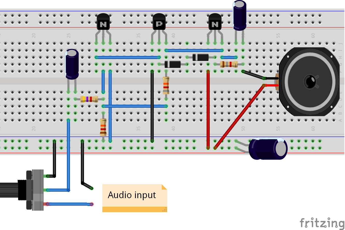 Audio Amplifier With Common Transistors One Transistor Circuit Diagrams Breadboard