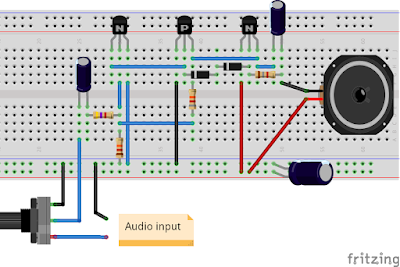Audio amplifier breadboard
