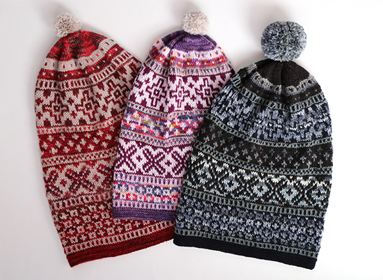 3 Versions of Scandinvavian Hat Pattern in Different Colorways Side-by-Side