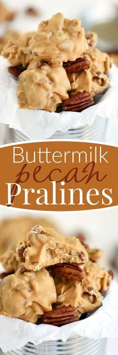 Old fashioned candy is the best! I love surprising friends and family with homemade candy during the holidays and these Buttermilk Pecan Pralines are one of my favorites! Ultra smooth and creamy and oh-so decadent, it's everyone's favorite treat!