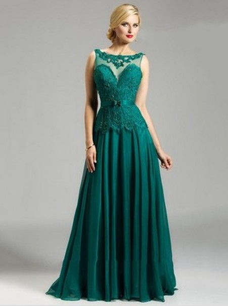 Open Back Scoop Neck Dark Green Chiffon Tulle Appliques Lace A-line Evening Dresses--Price: $169.31 ( 55.0% OFF )