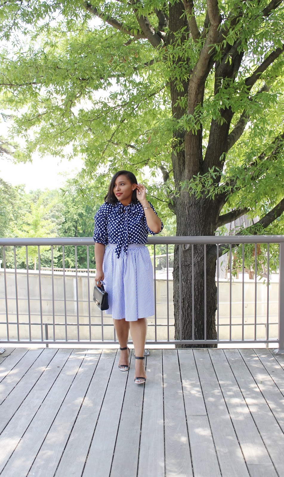 Shoes of prey, deisgn your own shoes, summer looks, dc blogger, twirl, blue outfits, midi skirt, striped shirt, ankle strao heels, polka dot shirt, walking in the street