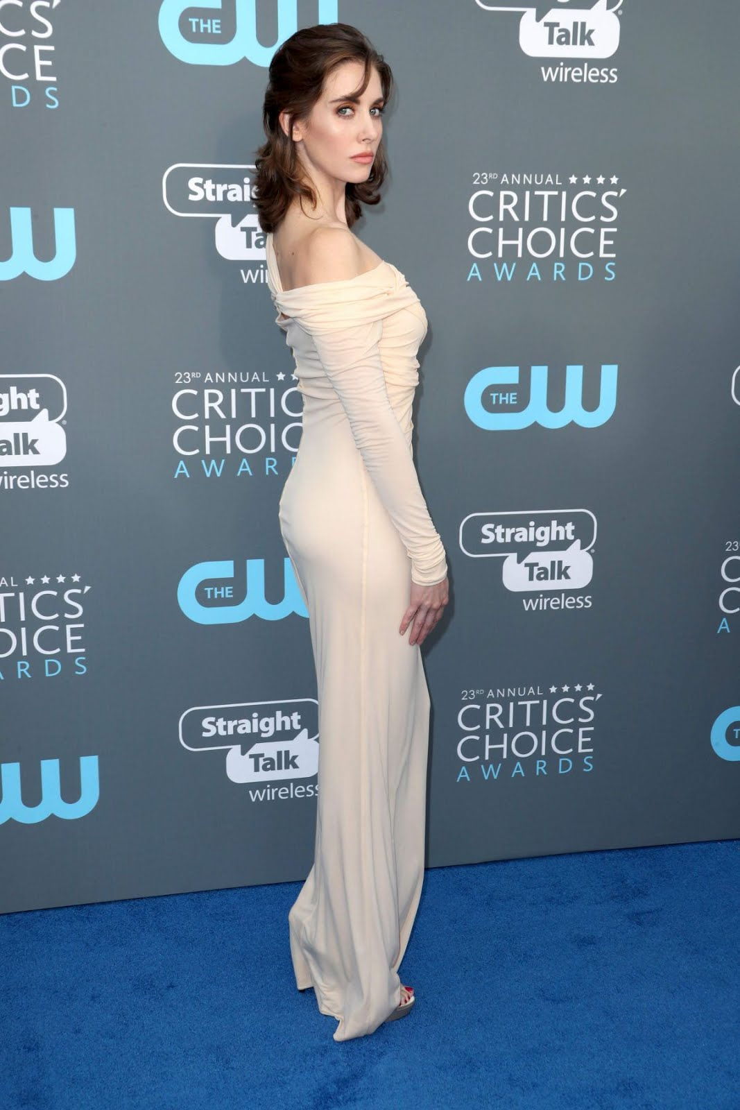 Alison Brie in clingy dress at 2018 critics Choice Awards In Santa Monica