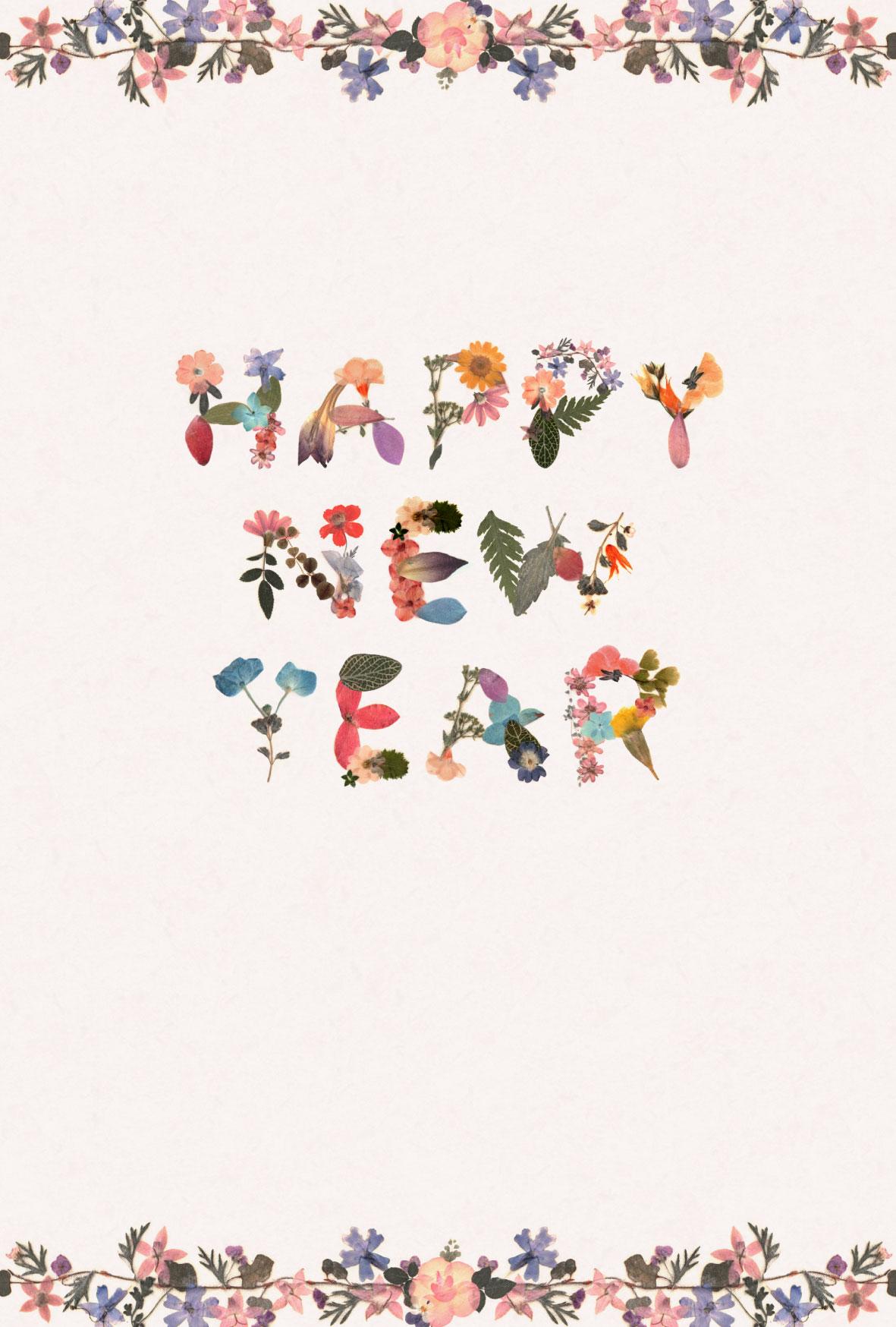 happy new year」の押し花デザインの年賀状テンプレート | かわいい無料
