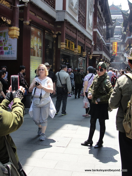 militaristas taking photo in Old City in Shanghai, China