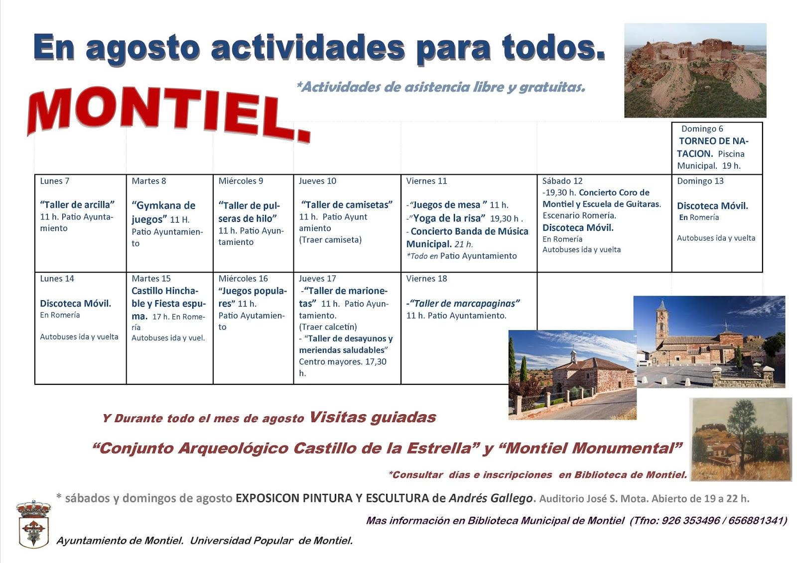 UNIVERSIDAD POPULAR DE MONTIEL: Actividades para todos en Agosto ...