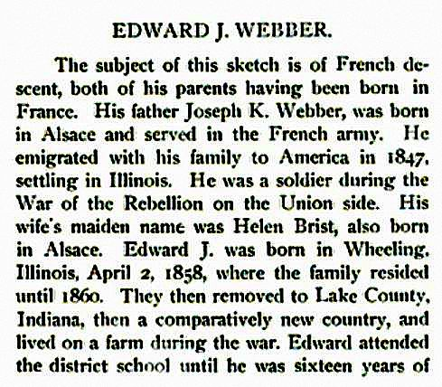 son of French army veteran & Union soldier, born Wheeling IL 1858, blacksmith and later manufacturer of farm equipment