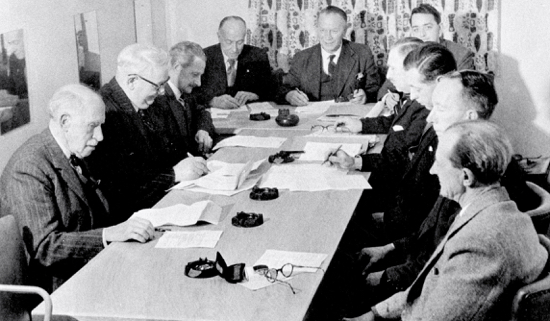 Councillor H.M. Alderman fourth fromleft attending a North Mymms Parish Council meeting in 1957 Image courtesy of NMPC and part of the Images of North Mymms Collection