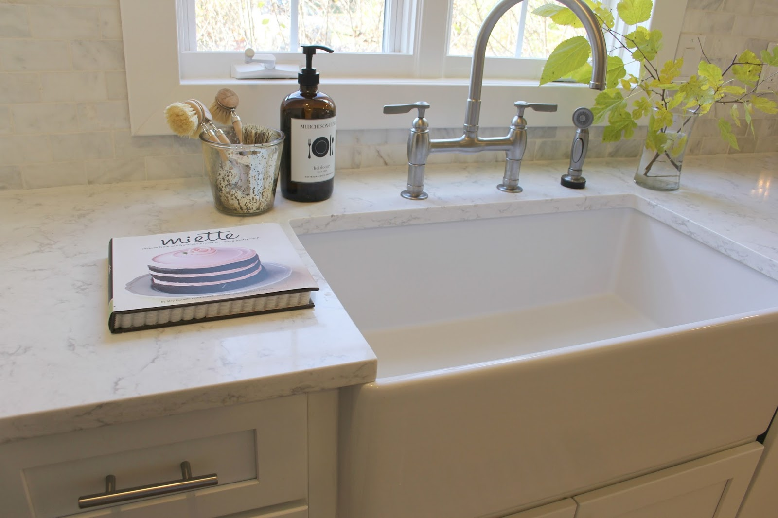 My White Kitchen: Viatera MINUET Quartz Countertop, Farm Sink, Bridge  Faucet, ...