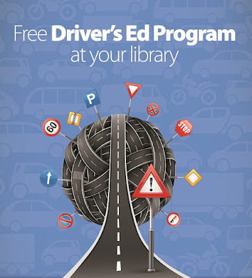 Poster for program.  Images of roads and road signs.  Text: Free Driver's Ed Program at your library.
