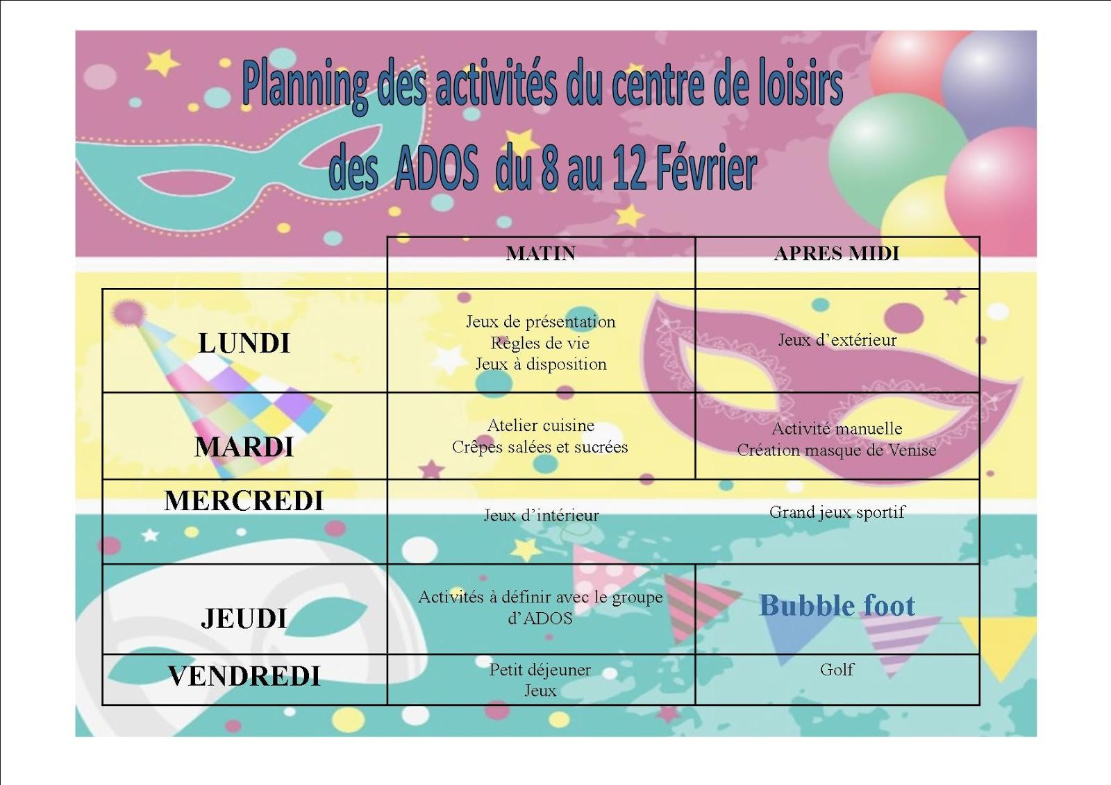 Gut gemocht Le centre de loisirs d'YERVILLE: Planning des activités du groupe  SW54