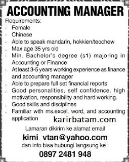 Lowongan Kerja Accounting Manager